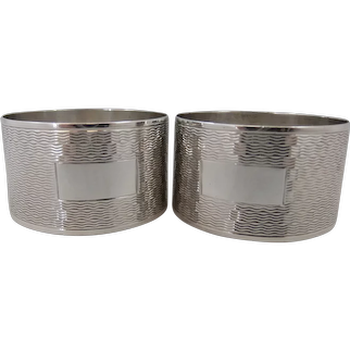 Pair Elegant Sterling Silver Napkin Rings, Birmingham 1962