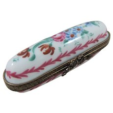 Pretty Limoges Porcelain Needle Case