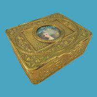 Pretty Gilt Brass Jewellery Casket With Inset Watercolour Portrait