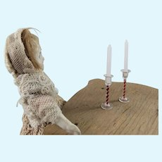 Pair Miniature Dollhouse Glass Air Twist Candlesticks