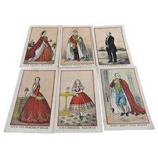 6 Small Hand Coloured Engravings – Queen Victoria, Prince Albert Etc