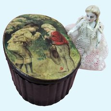 Tiny Jointed Bisque Doll Inside Pretty Papier Mache Snuff Box