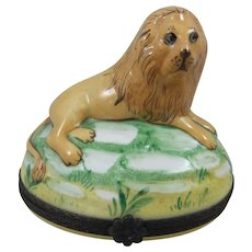 Stunning Hand Painted Limoges Tradition d'Art Lion Trinket Box