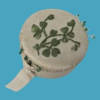 Victorian White Silk Pin Cushion With Shamrock Embroidery