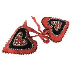 Pair of Delightful Felt & Silk Heart-Shaped Pin Cushions
