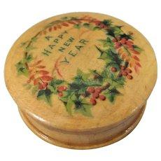 Small Circular Mauchline Ware Box 'A Happy New Year'