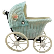 Vintage Japanese Moulded Celluloid Pram/Baby Carriage + Baby