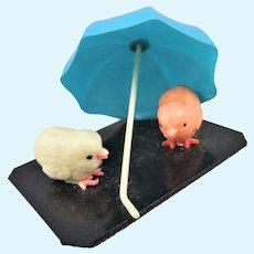Vintage Japanese Celluloid 'Chicks With Umbrella' Miniature
