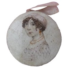 Unique Silk Disc Pin Cushion With Regency Lady Portrait
