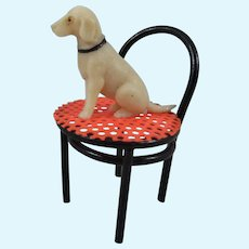 Pre-WWII Japanese Miniature Celluloid Dog on Chair