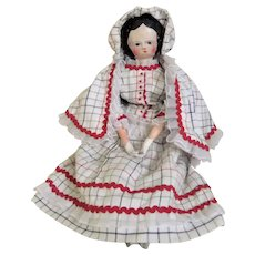 German Carved Wooden Head Doll, 13 Inches