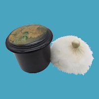 Mauchline Black Lacquer Toilet Powder Box + Powder Puff