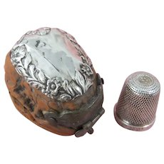 Novelty Silver-Topped Walnut Thimble Case & Sterling Silver Thimble