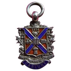 Sterling Silver & Enamel Pocket Watch Fob Medal, Birmingham 1909