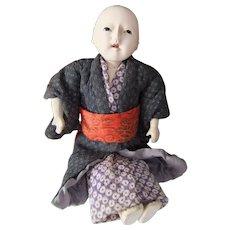 Vintage Japanese Ichimatsu Gofun Boy Doll, 6.5 Inches