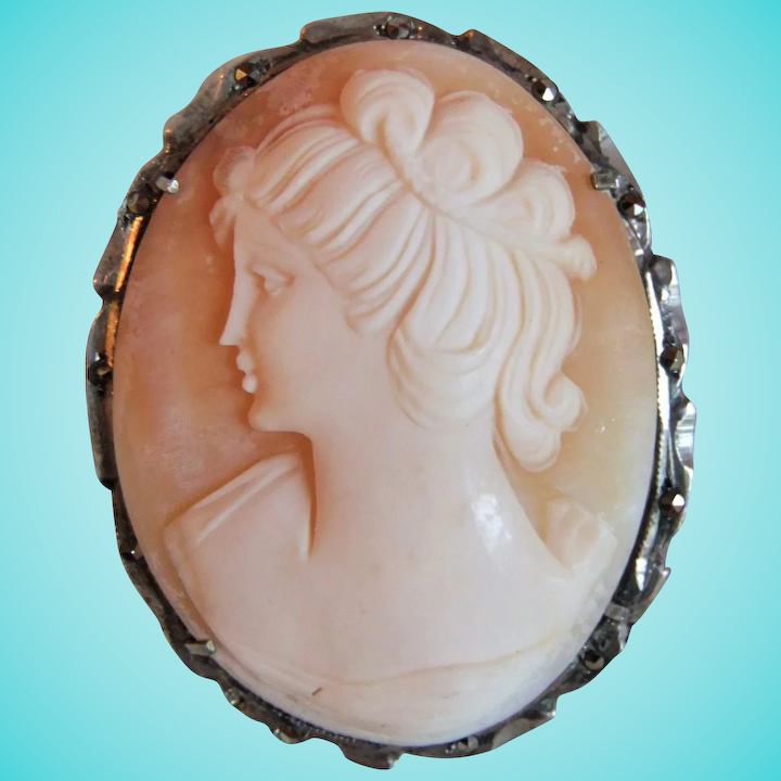 e6abd0454f103 Vintage Carved Shell Cameo, 800 Silver and Marcasite Brooch & Pendant –  Classical Lady