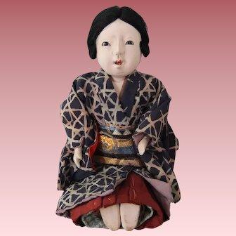 Wonderful Vintage Japanese Ichimatsu Gofun Girl Doll, 6.5 Inches, with Futon