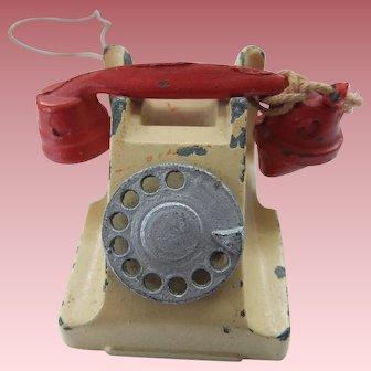 Vintage Miniature Doll House Die Cast Metal Telephone