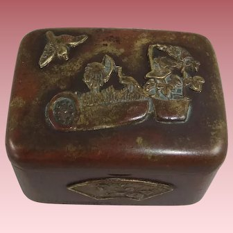 Small Japanese Mixed Metal Pill/Trinket Box