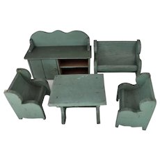 Vintage Wooden Doll House Chairs, Bench, Table & Dresser
