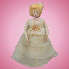 Fabulous Vintage Miniature Papier-Mâché Doll House Doll