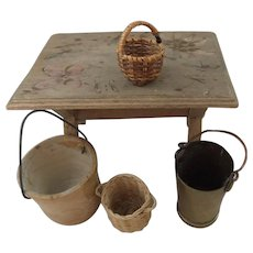 Vintage Doll House Farmhouse Kitchen Table, Baskets & Buckets