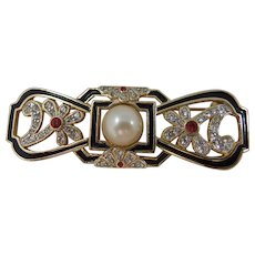 Art Deco Simulated Pearl, Paste and Enamel Bow Brooch/Pin