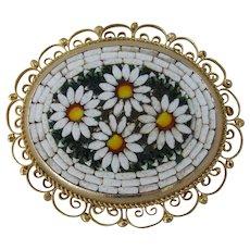 Pretty Vintage ItaIian Micro Mosaic Daisy Brooch