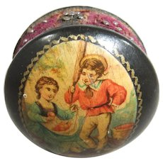 Adorable Victorian Black Lacquer Pin Cushion with Polychrome Image of Apple Pickers