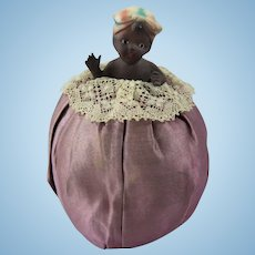 Charming Black Bisque Child Half Doll Pin Cushion, Early 20th Century