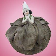 Tiny Vintage Pierrot Half Doll Pin Cushion