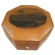 Victorian Octagonal Mauchline Cotton Reel Box 'Edinburgh View From The Castle'