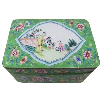 Beautiful 19th Century Chinese (Cantonese) Enamel on Copper Box and Cover