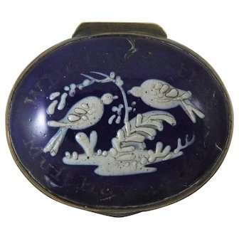 Eighteenth Century English Enamel Patch Box 'Who Opens This Must Have A Kiss'