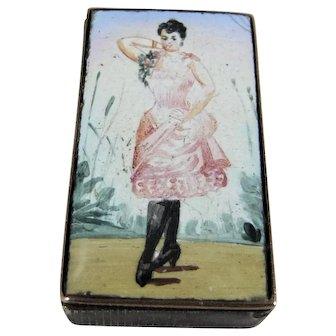 Wonderful French Circa 1900 Dancer/Showgirl Enamel and Brass Vesta Case