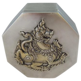 Vintage Asian 800 Silver Hexagonal Dragon Box Gold Plated Interior and Applied Dragon