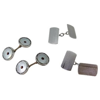 Two Pairs Vintage Cuff Links, Engine Turned Sterling Silver & Mother Of Pearl Gilt