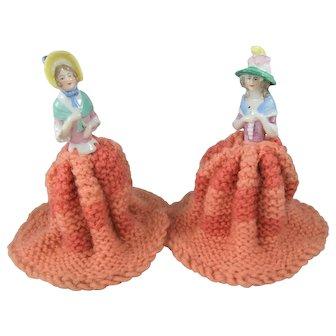 Pair Vintage China Half Dolls Wearing Knitted Wool Crinoline-Style Skirts