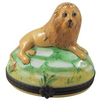 Rare Larger Limoges Porcelain Hand Painted Lion Trinket Box