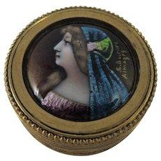 Antique Signed French Limoges Enamel Portrait Miniature Set Within Gilt Bronze Bonbonniere Box