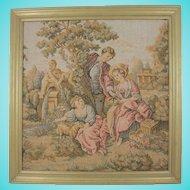 Small Framed European Tapestry Inspired by Francois Boucher's 'The Shepherd's Gift'