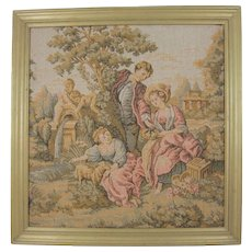 Small Framed European Tapestry Inspired by Francois Boucher's 'The Shepherd's Gift'