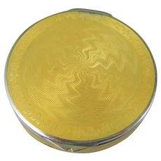 Small Circular Continental Sterling Silver Yellow Guilloche Pill or Snuff Box, 1926