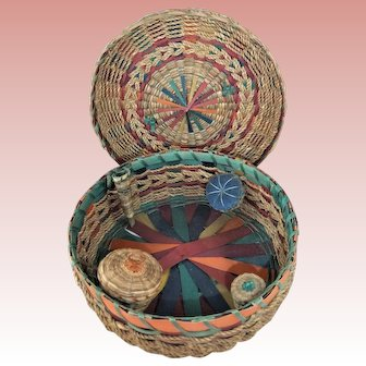 Fabulous 1930s Canadian First Nations Sewing Basket With Pin Cushion & Other Fittings