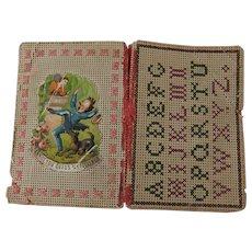 Sweet 19th Century Bristol Board Needle Book, Alphabet Sampler & Comical Die-cut Scrap