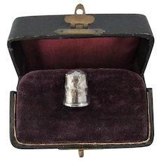 Edwardian Child's English Sterling Silver Thimble in Original Case, Birmingham 1905