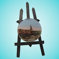 Miniature 19th Century Easel With Tinted Photo on Glass of Brighton Aquarium