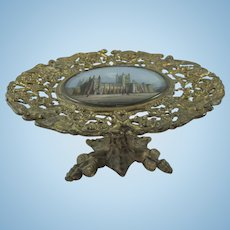 19th Century Miniature Gilt Table with Central Glass Painting of Canterbury Cathedral