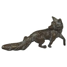 Vintage Cast Bronze Study of Standing Fox, 8 Inches Long