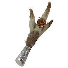 Vintage Scottish Sterling Silver Grouse Foot Brooch Pin With Faceted Amber Glass Ring